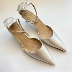 Kate Spade Pearl Satin Ankle Strap Kitten Heels 9